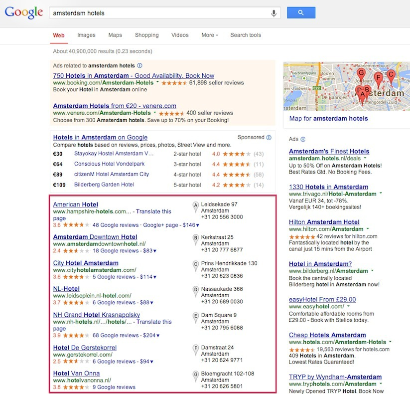 Google search amsterdam hotels